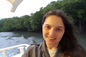 Jessy on our sunset cruise boat.