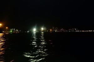 The night lit harbor