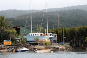One of the harborside constructs and the boats that were moored beside it.