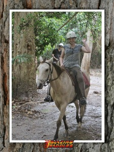 Traipsing about through the rainforest on horseback in the rain.