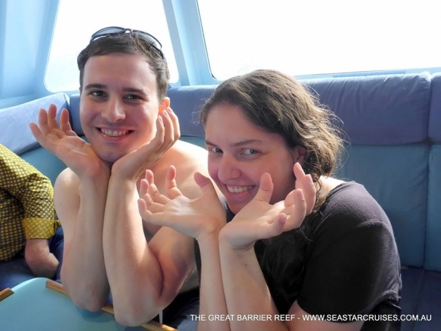 Aboard the boat, making our best Giant Clam impressions