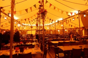Inside the dining tent, ready for a meal fit for Hobbits!